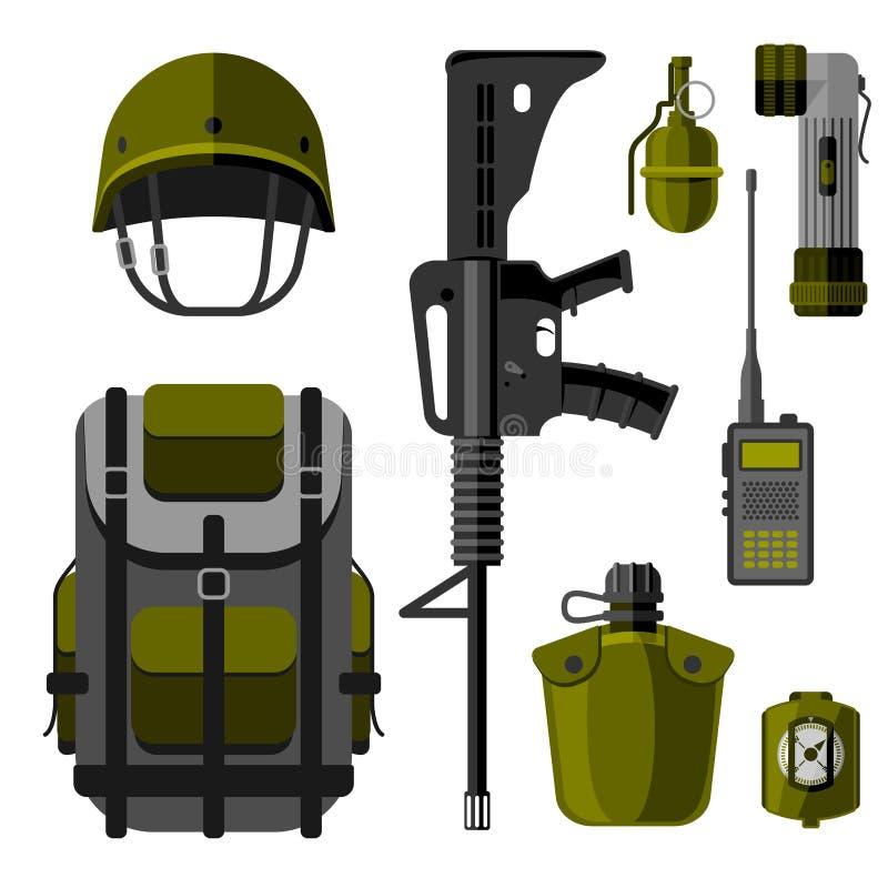 Militära styrkor för vapenvapenharnesk planlägger och den amerikanska illustrationen för vektorn för kamouflage för kämpeammuniti stock illustrationer