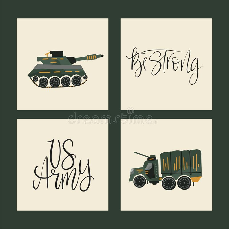 Militära vektorillustrationer Armékort med plana illustrationer av krigtransport stock illustrationer