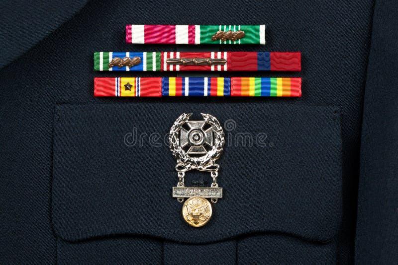 Militärdekorationen auf formaler Uniform stockfoto