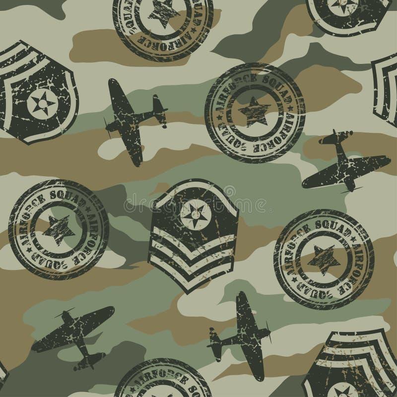 Militäremblem i en sömlös modell stock illustrationer