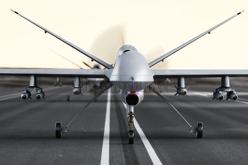 Militären beväpnad UAV surrar att förbereda sig för start på en landningsbana