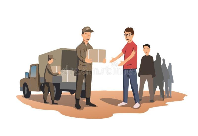 Militären eller volontärer fördelar askar med humanitärt bistånd Fördelningen av mat och grundläggande nödvändigheter vektor vektor illustrationer