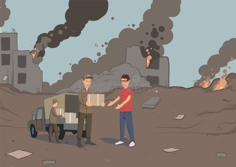 Militären eller volontärer fördelar askar med humanitärt bistånd Fördelningen av mat och grundläggande nödvändigheter vektor stock illustrationer