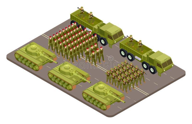 Militären ståtar vektorn som är isometrisk med soldater och militär utrustning royaltyfri illustrationer