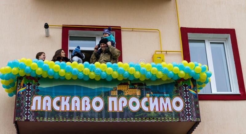 Militärerna av krigsmakten av Ukraina, som deltog royaltyfri foto