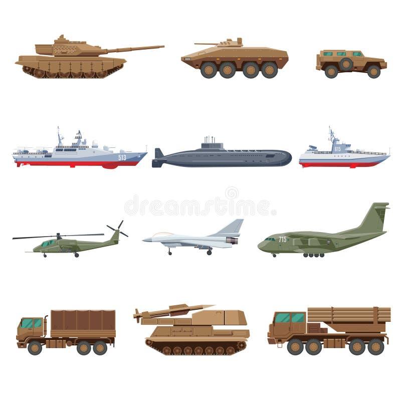 Militärfahrzeuge eingestellt stock abbildung