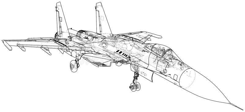 Militärfläche Kampfflugzeugvektorillustration Geschaffene Illustration von 3d vektor abbildung
