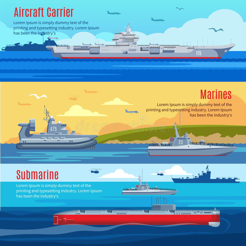 Militärflotten-horizontale Fahnen lizenzfreie abbildung