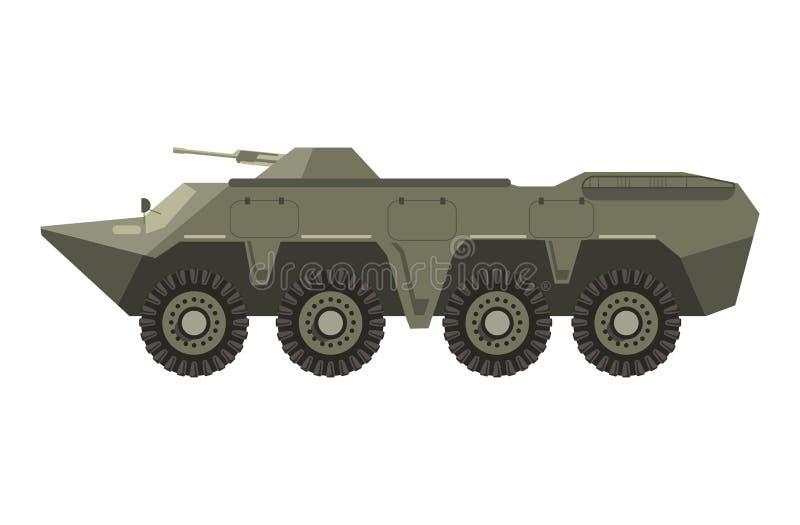 Militärfordon med fyra par av hjul och kanonen royaltyfri illustrationer