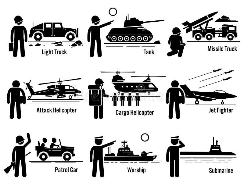 Militärfordonarmésoldat Transportation Set Clipart stock illustrationer