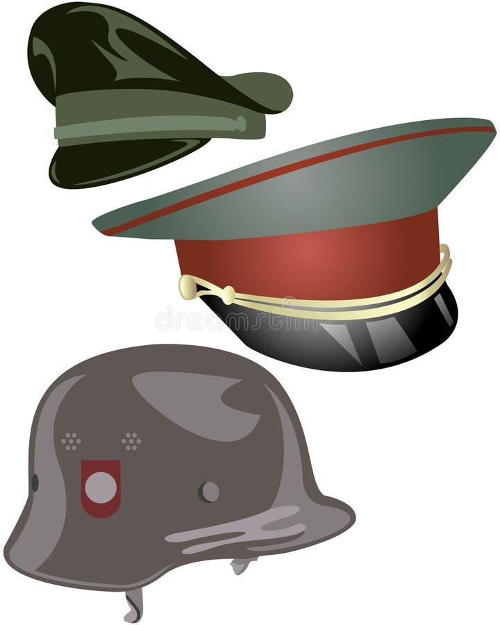 Militärhüte und Sturzhelm stock abbildung