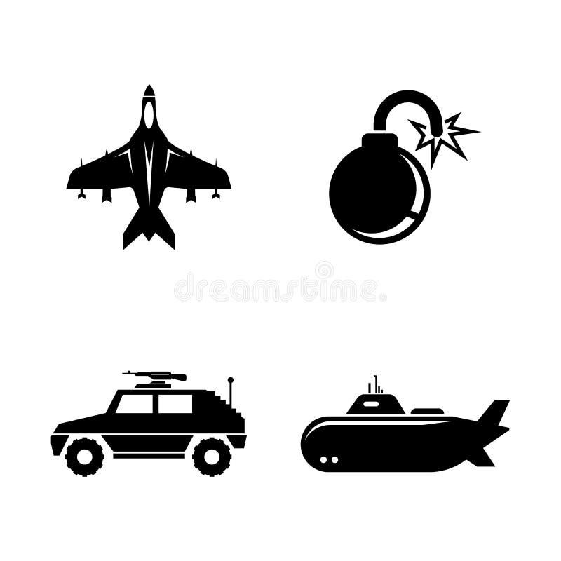 militärisch Einfache in Verbindung stehende Vektor-Ikonen stock abbildung