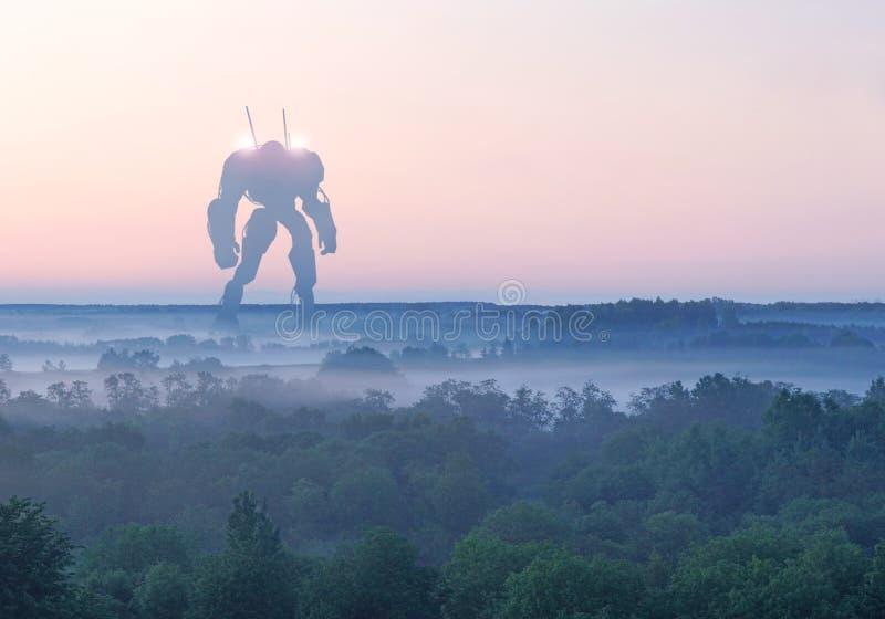 Militärische riesige Kampfmaschine der Sciencefiction Humanoid Roboter in der Apocalypselandschaft Dystopia, Zukunftsromane, mech lizenzfreies stockbild