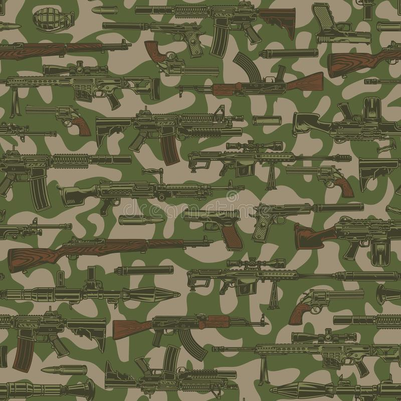 Militärisches nahtloses Muster der Weinlese stock abbildung