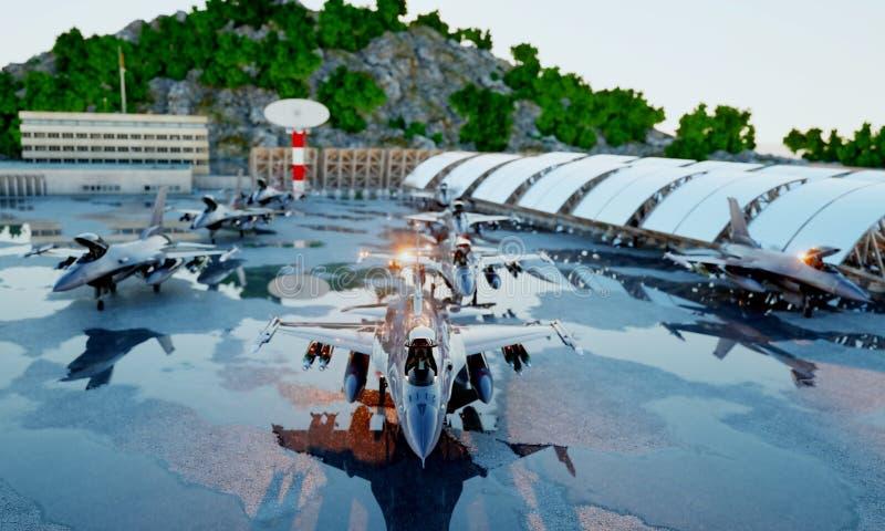 Militärjaktflygplan för F 16 Militärbas Solnedgång framförande 3d royaltyfria foton