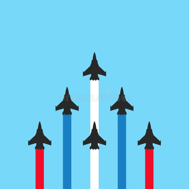 Militärjets mit farbigen Spuren auf blauem Hintergrund Flache Showillustration lizenzfreie abbildung