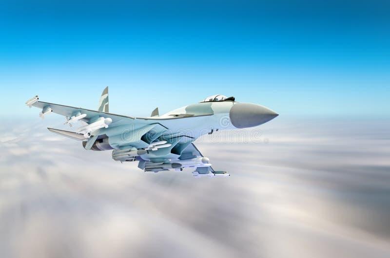 Militärkampfflugzeug an der hohen Geschwindigkeit, hoch fliegend in den Himmel stockfotografie