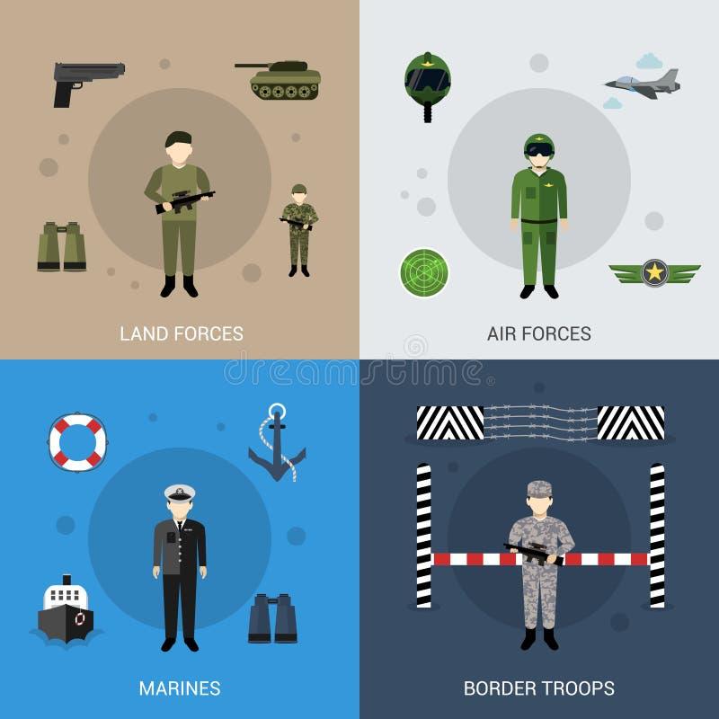 Militärlägenhetuppsättning stock illustrationer