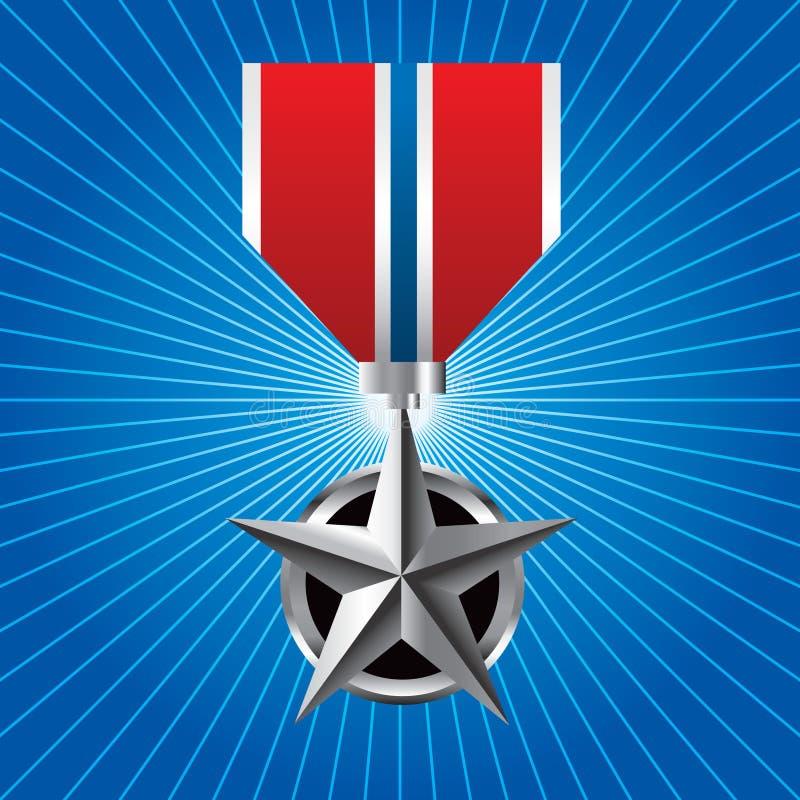 Militärmedaille auf blauem starburst lizenzfreie abbildung