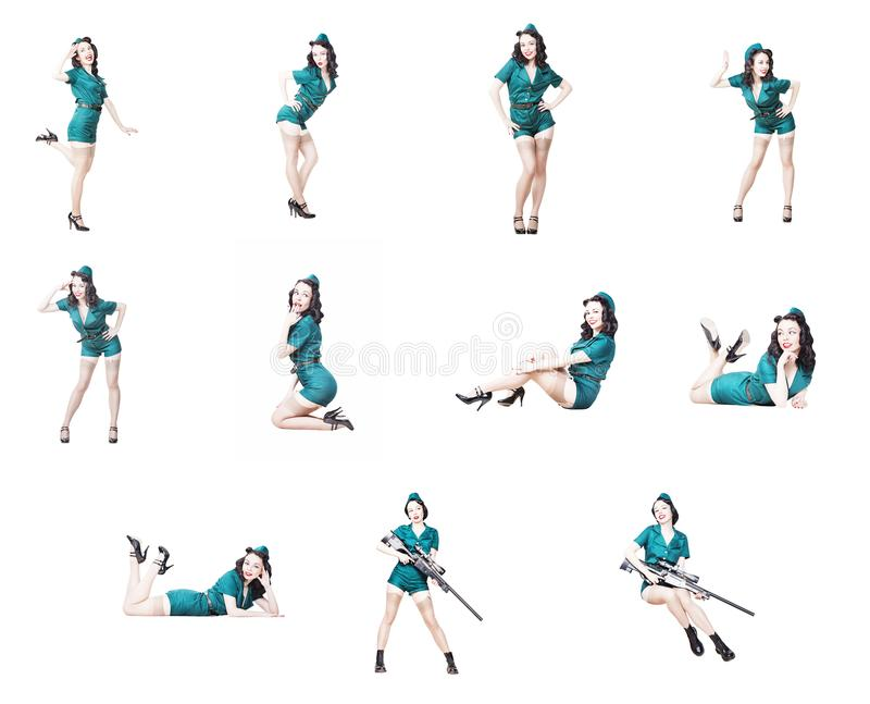 Militärpin-up-girl-Sammlung stockfotos
