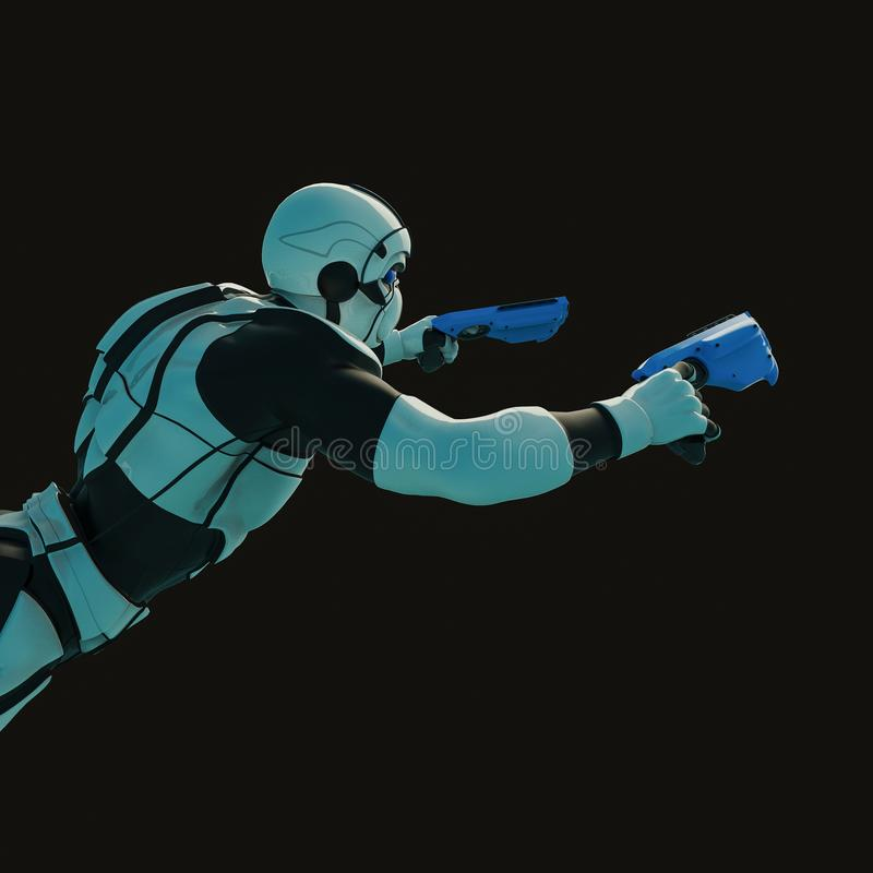 Militärpolis i en mörk bakgrund vektor illustrationer