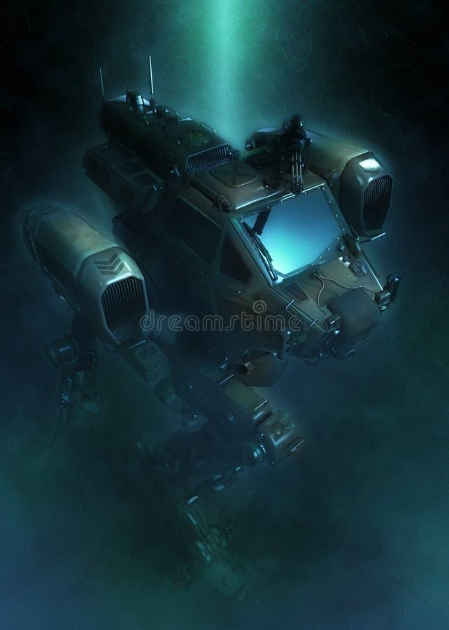 Militärroboter Illustration 3d auf einem fantastischen dunklen Hintergrund vektor abbildung