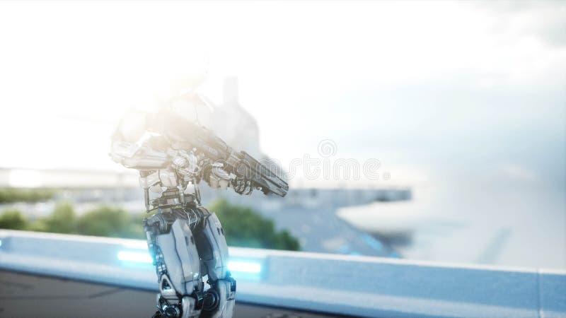 Militärroboter mit dem Gewehrgehen Futuristische Stadt, Stadt Wiedergabe 3d vektor abbildung