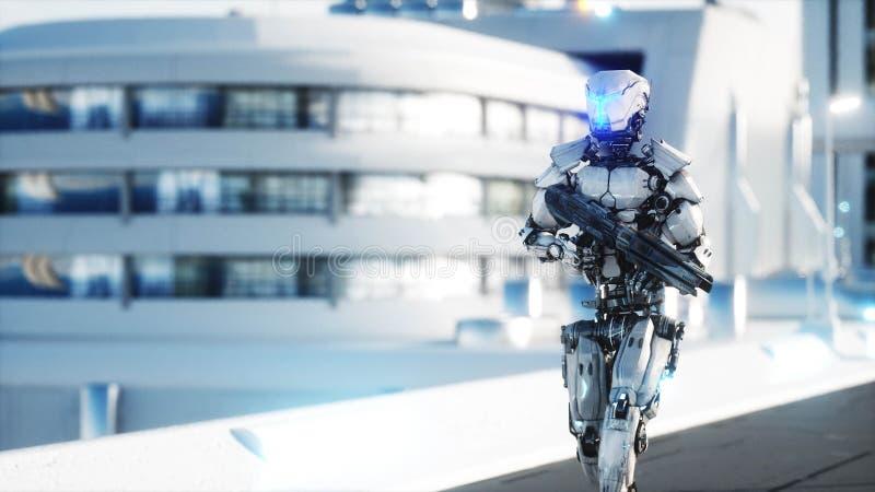 Militärroboter mit dem Gewehrgehen Futuristische Stadt, Stadt Wiedergabe 3d lizenzfreie abbildung