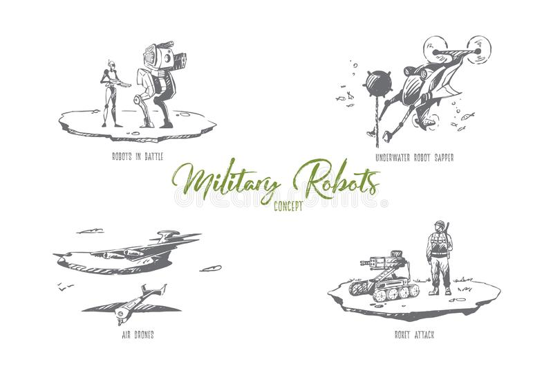 Militärroboter - Roboter im Kampf, Unterwassersapper, roket Angriff, Luftbrummenvektor-Konzeptsatz lizenzfreie abbildung