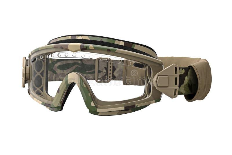 Militärskyddsglasögon, kamouflage stock illustrationer