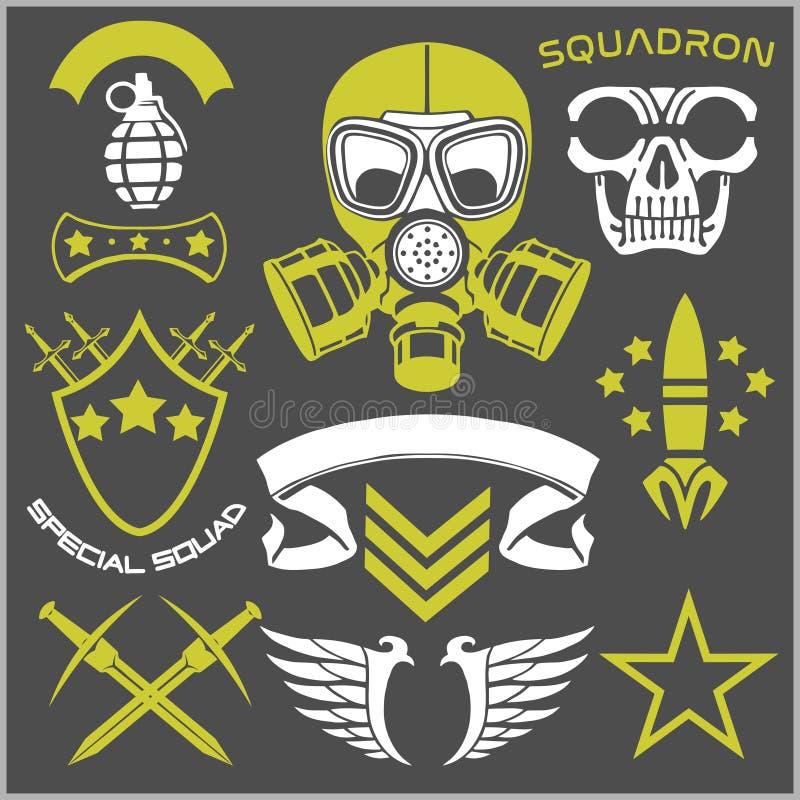 Militärsymbole mit Waffen- und Leuteuniform lizenzfreie abbildung