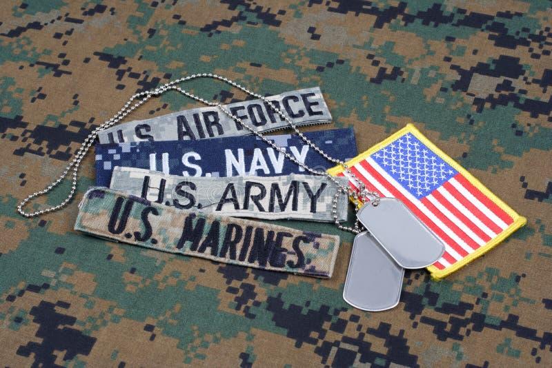 MILITÄRT begrepp för USA med filialband och hundetiketter på kamouflagelikformign royaltyfria bilder