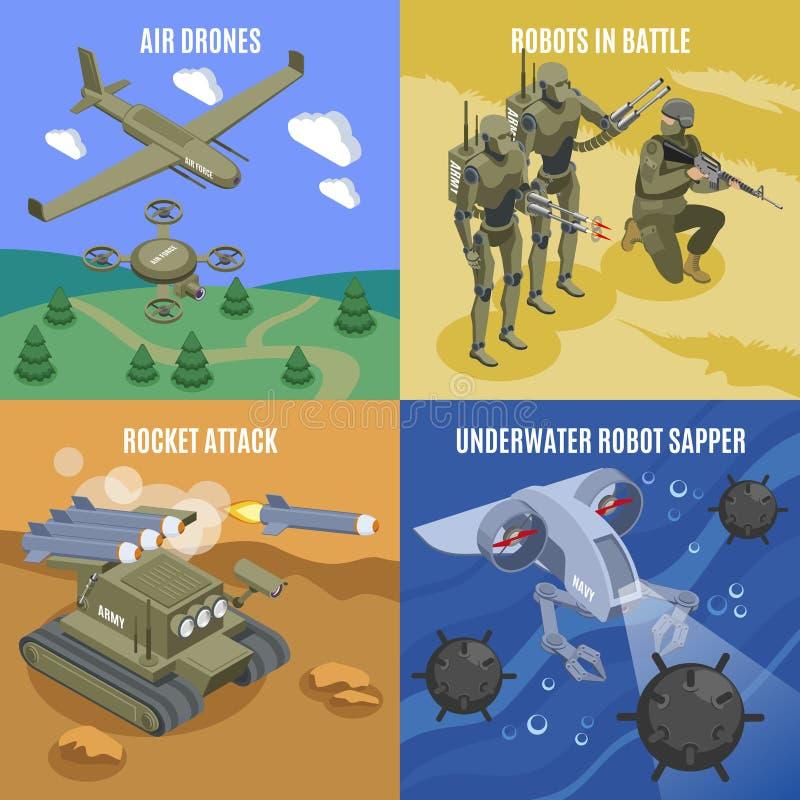 Militärt designbegrepp för robotar 2x2 vektor illustrationer