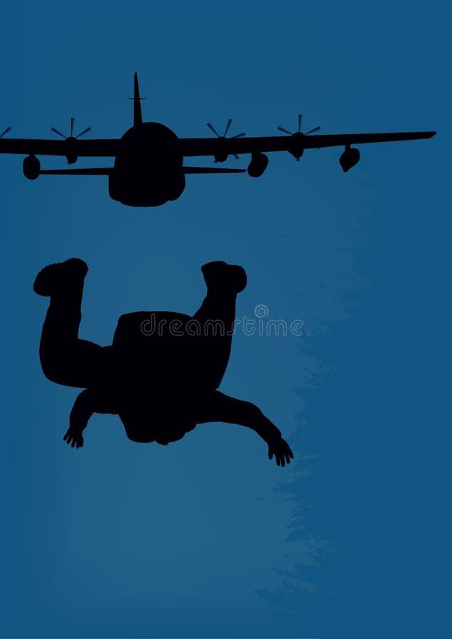 militärt flygplan och fallskärmsjägare vektor illustrationer