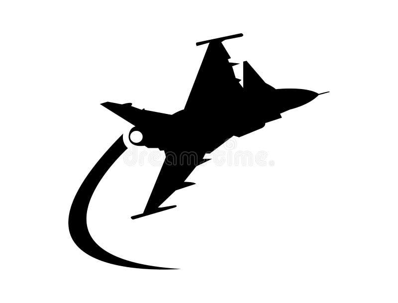 Militärt flygplan som gör en kurva royaltyfri illustrationer