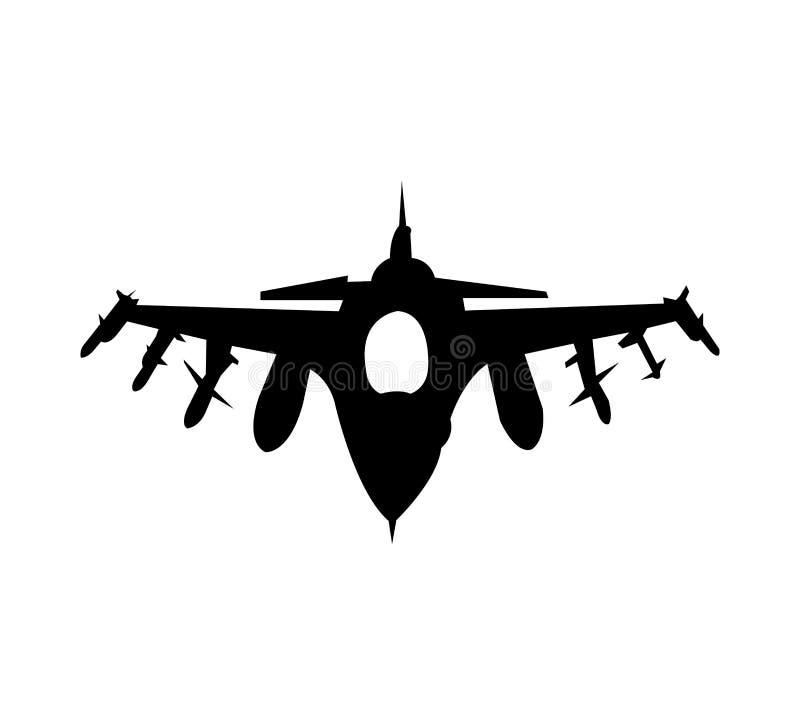 Militärt flygplan som isoleras på vit bakgrund stock illustrationer