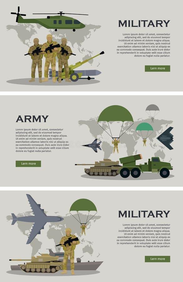 Militärt Infographic baner med världskartan vektor royaltyfri illustrationer