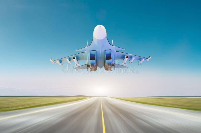 Militärt jaktflygplanflygplan på den hög hastigheten som flyger ovanför landningsbana på grunden arkivfoto
