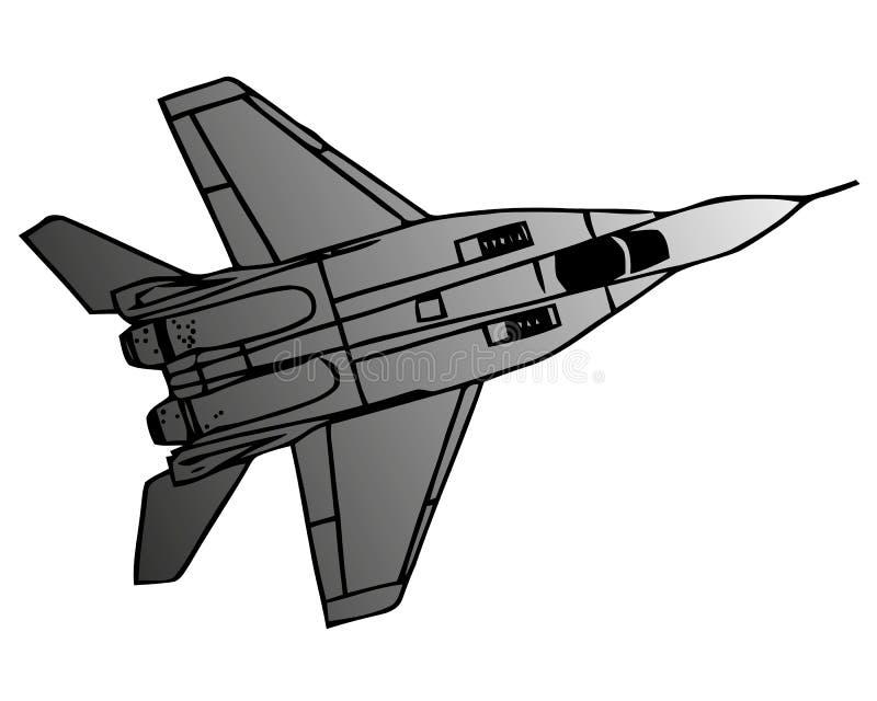 Militärt sjö- jaktflygplanflygplan, i flykten, skarp vektorillustration vektor illustrationer