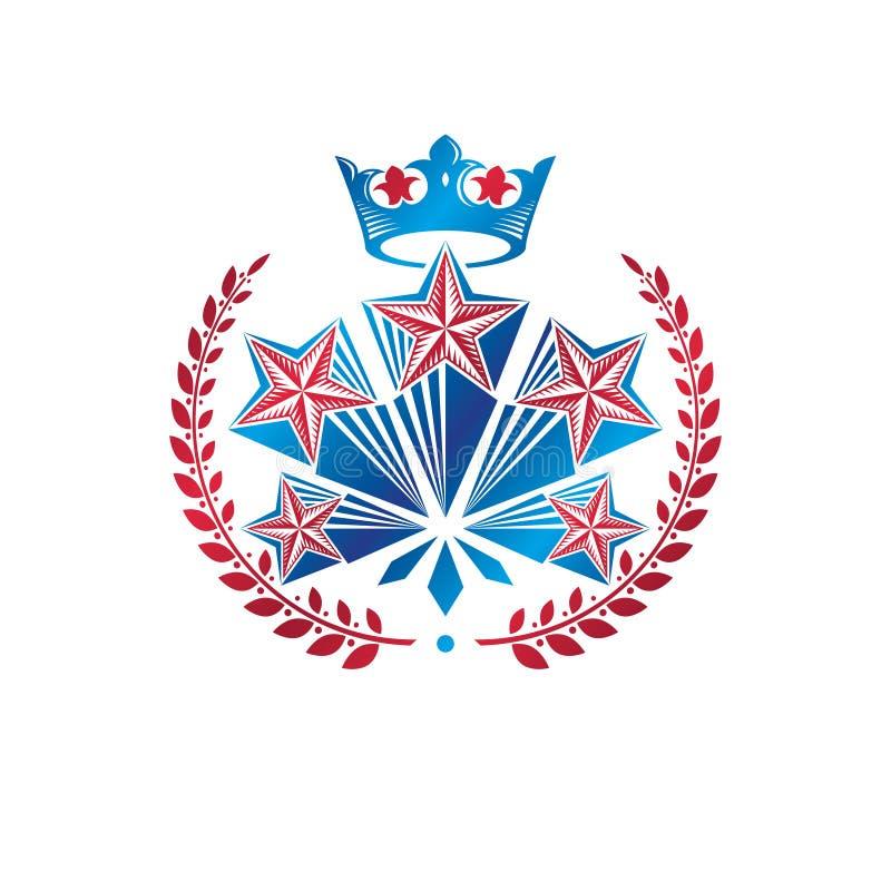 Militärt stjärnaemblem som skapas med den kungliga krona- och lagerkransen stock illustrationer