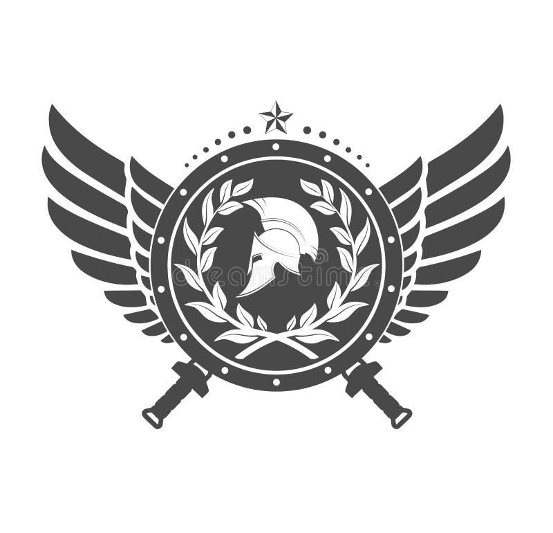 Militärt symbol en spartansk hjälm på ett bräde med bland vingar stock illustrationer