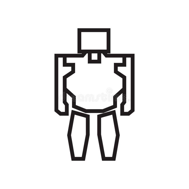 Militärt tecken och symbol för vektor för robotmaskinsymbol som isoleras på vit bakgrund, militärt begrepp för robotmaskinlogo stock illustrationer