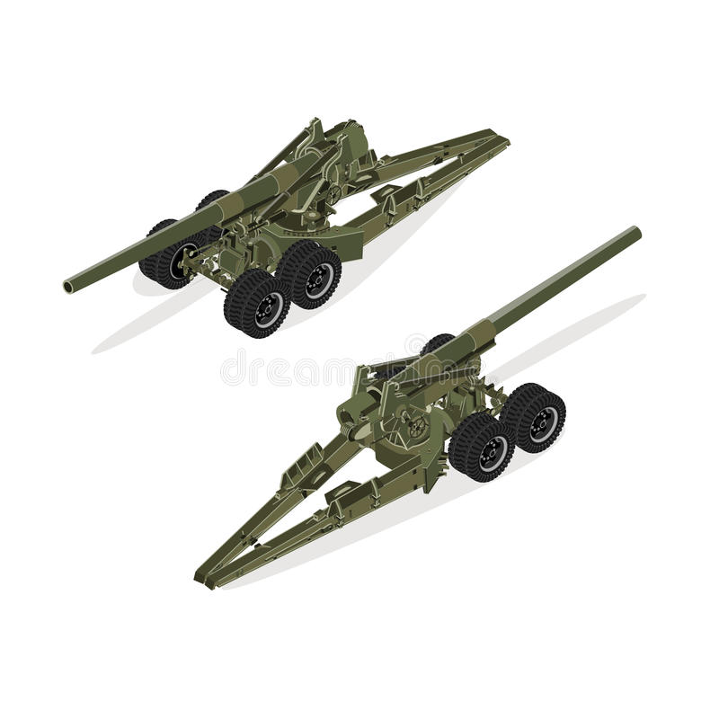 Militärt utrustningillustrationobjekt Plant isometriskt högkvalitativt objekt för artilleri 3d vektor illustrationer