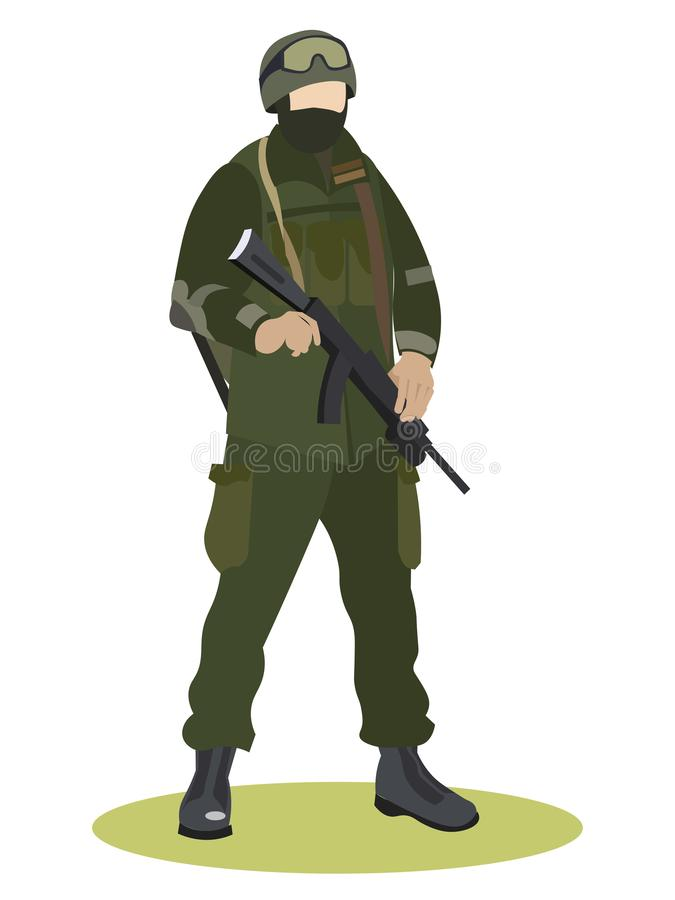 Militärtjänst soldat i likformign, specialförbandkamouflage I minimalist stil Plan vektor f?r tecknad film stock illustrationer