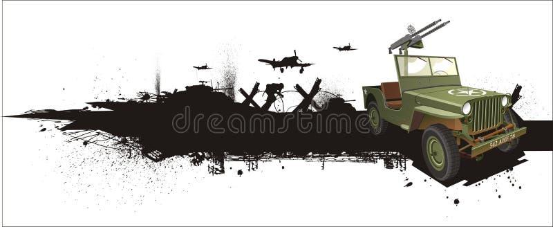 Militärwillis Jeep in der grune Art lizenzfreie abbildung