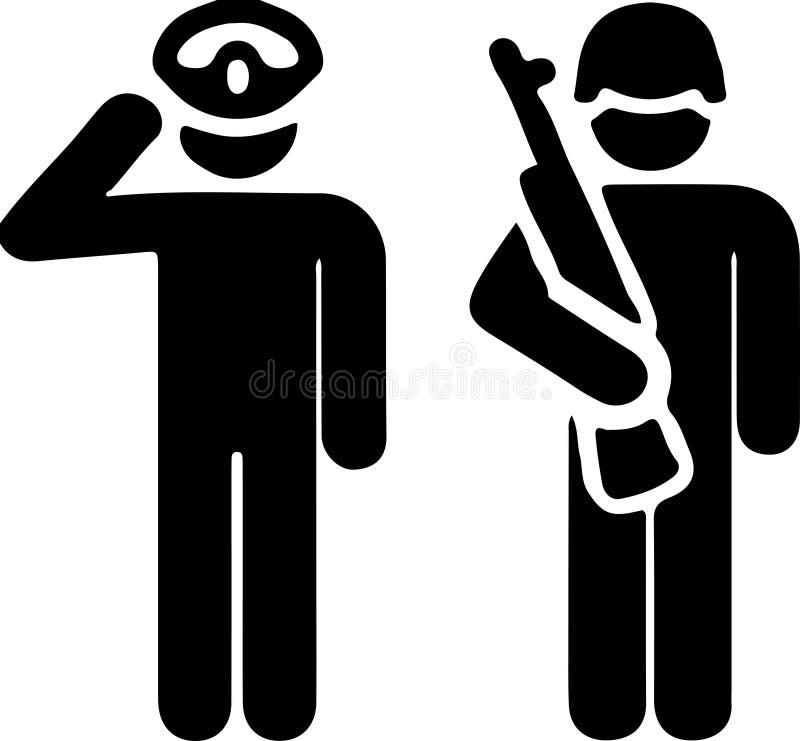 Milit?r symbol p? vit bakgrund royaltyfri illustrationer