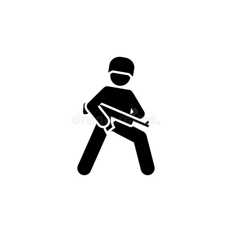 Militair, actie, mens, kanonnen, het pictogram van het jachtgeweerpictogram stock illustratie