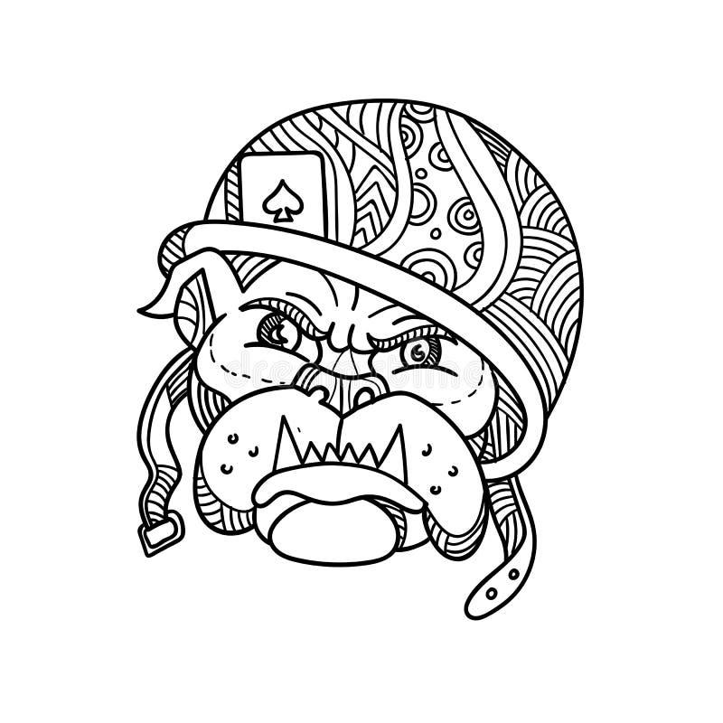 Militair Bulldog Ace van Spade Monolijn royalty-vrije illustratie
