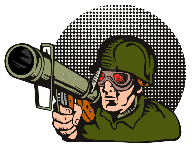 Militair die een bazooka streeft vector illustratie
