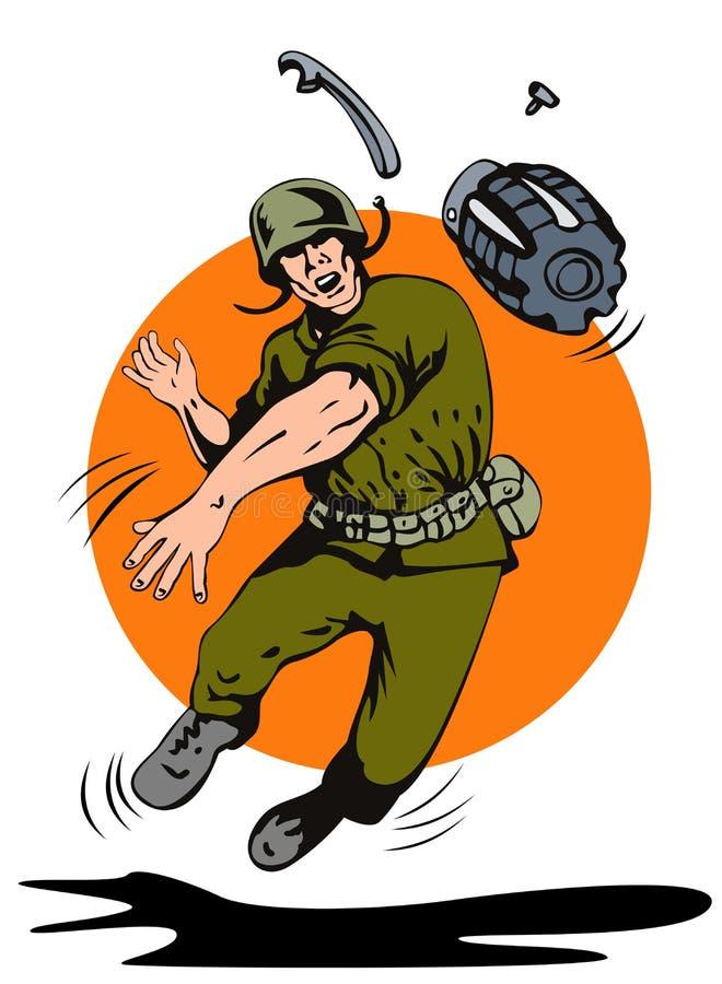 Militair die een granaat werpt stock illustratie